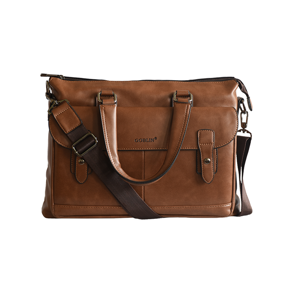 Plutus Goblin Brown Pu Leather Office Bag